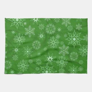 Copo de nieve en verde toalla