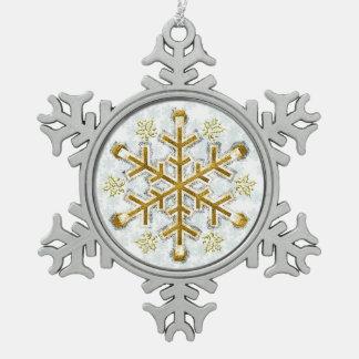 Copo de nieve enmarcado plata del oro - copo de adorno de peltre en forma de copo de nieve