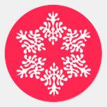 Copo de nieve escandinavo del navidad blanco pegatina redonda