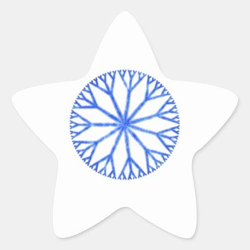 Copo de nieve escarchado azul pegatina en forma de estrella