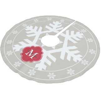 Copo de nieve gigante rojo de lino y festivo falda para arbol de navidad de poliéster