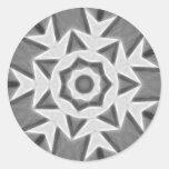 Copo de nieve gris del arte 22 del caleidoscopio pegatinas redondas