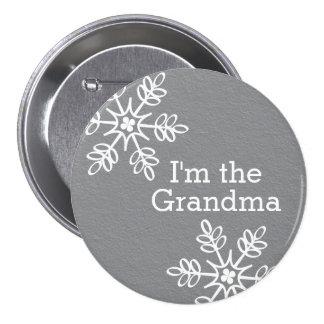 Copo de nieve gris y blanco soy la abuela pin redondo de 3 pulgadas