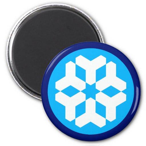 Copo de nieve imán redondo 5 cm