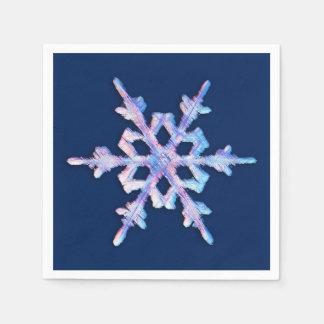 Copo de nieve iridiscente en azul marino servilletas de papel