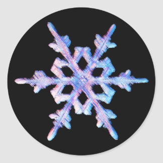 Copo de nieve iridiscente pegatina redonda