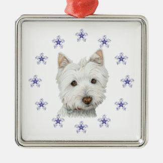Copo de nieve lindo del arte y del navidad del adorno navideño cuadrado de metal