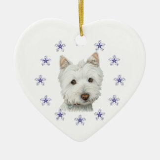 Copo de nieve lindo del arte y del navidad del adorno navideño de cerámica en forma de corazón