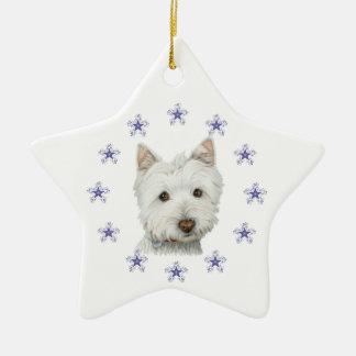 Copo de nieve lindo del arte y del navidad del adorno navideño de cerámica en forma de estrella