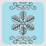 Copo de nieve lindo en azul calcomanías cuadradass