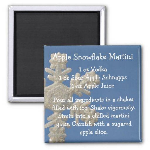 Copo de nieve Martini de Apple Imán Cuadrado