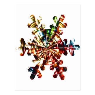 Copo de nieve - modelo holístico de la chispa roja tarjeta postal