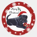 Copo de nieve negro del navidad del labrador pegatina redonda
