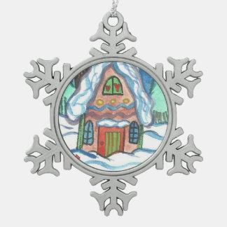 Copo de nieve Ornamet de la casa del invierno Adorno De Peltre En Forma De Copo De Nieve