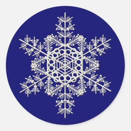 Copo de nieve pegatina redonda