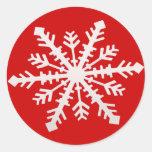 Copo de nieve pegatinas redondas