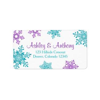 Copo de nieve púrpura de la turquesa que casa el etiquetas de dirección