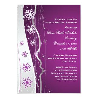 Copo de nieve púrpura del gris de plata que casa comunicados personalizados