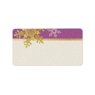 Copo de nieve púrpura del oro que casa etiquetas etiqueta de dirección