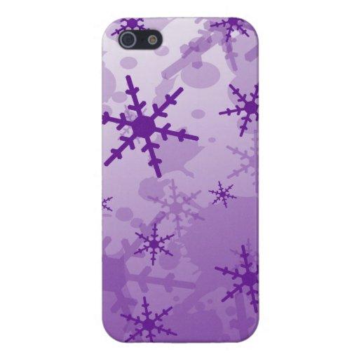 Copo de nieve púrpura iPhone 5 funda