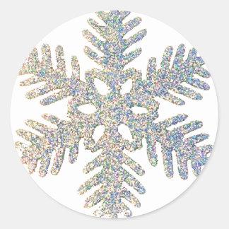 Copo de nieve reluciente etiqueta redonda
