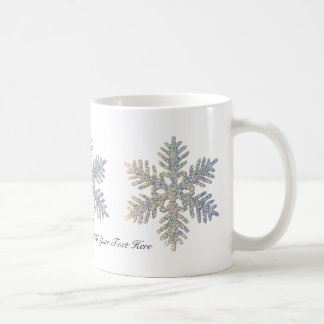 Copo de nieve reluciente impreso personalizable taza clásica