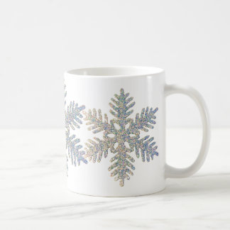 Copo de nieve reluciente impreso tazas de café