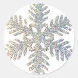 Copo de nieve reluciente pegatina redonda