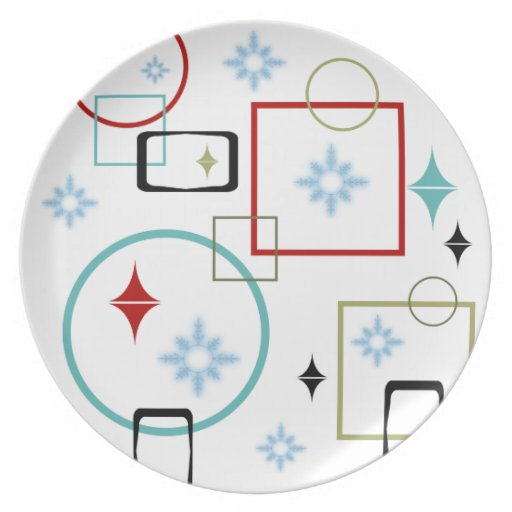 Copo de nieve retro del invierno plato