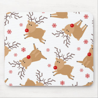 Copo de nieve rojo blanco del reno del modelo mouse pads