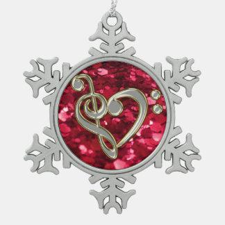 Copo de nieve rojo del Clef del corazón de la Adornos