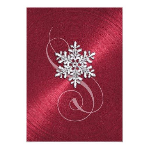 """Copo de nieve rojo del fondo con Swash Invitación 5"""" X 7"""""""