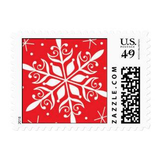 copo de nieve rojo timbre postal