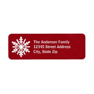 Copo de nieve rojo y blanco - etiqueta de etiqueta de remite