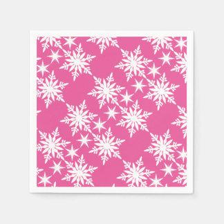 Copo de nieve rosado del navidad servilletas desechables