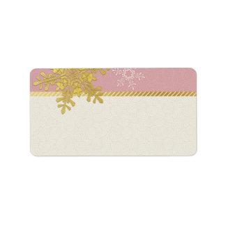 Copo de nieve rosado del oro que casa etiquetas de etiquetas de dirección