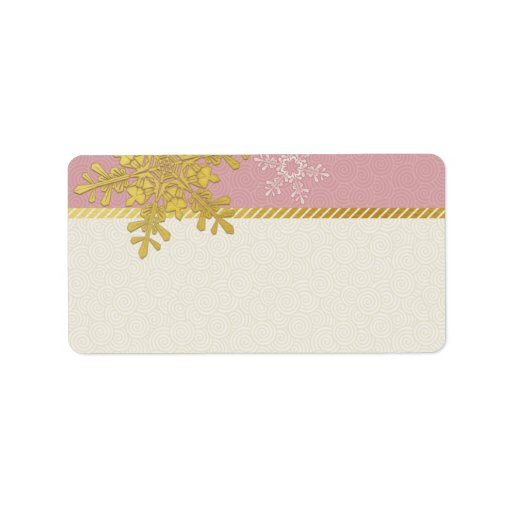 Copo de nieve rosado del oro que casa etiquetas de etiqueta de dirección