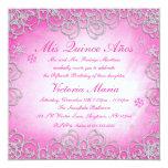 """Copo de nieve rosado Quinceanera del remolino del Invitación 5.25"""" X 5.25"""""""
