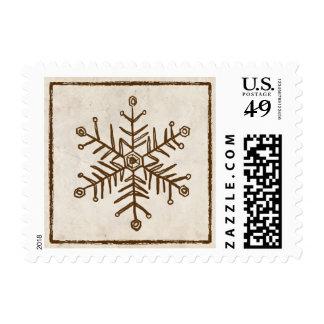 Copo de nieve rústico del vintage sello postal