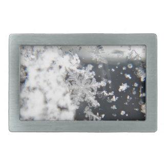 Copo de nieve sobre el vidrio hebillas cinturon rectangulares