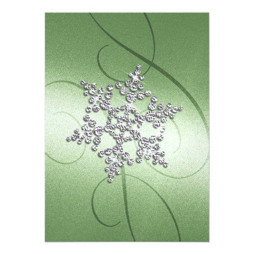 Copo de nieve verde del cristal del fondo anuncio