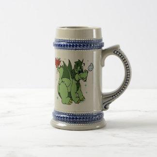 Copo de nieve verde del dragón del baile jarra de cerveza