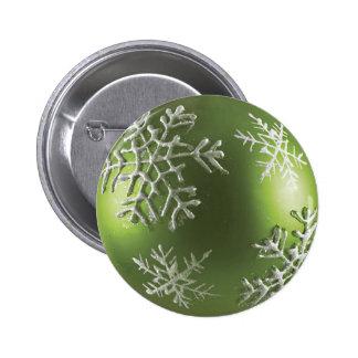 Copo de nieve verde pin redondo de 2 pulgadas