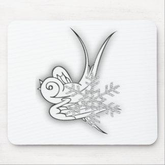 Copo de nieve y chirrido - negro y blanco alfombrillas de ratón