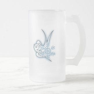 Copo de nieve y diseño del navidad del chirrido - jarra de cerveza esmerilada