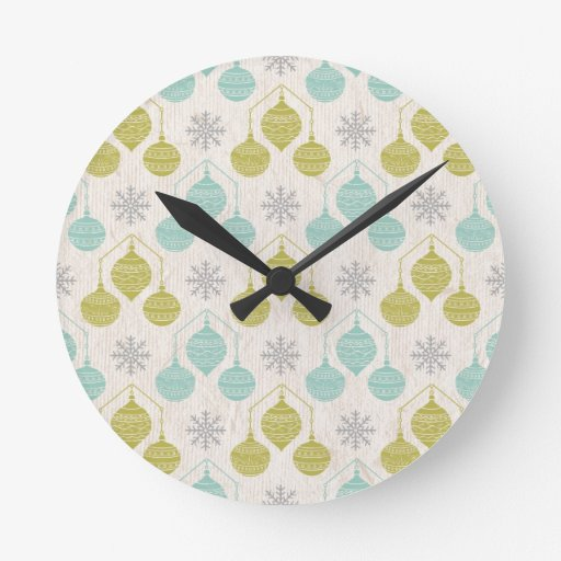 Copo de nieve y ornamento retros - reloj de pared