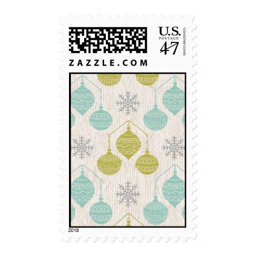 Copo de nieve y ornamento retros - sello