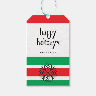 Copo de nieve y rayas rojas y verdes del día de etiquetas para regalos