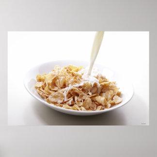 Copos de maíz y leche impresiones
