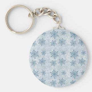 Copos de nieve 1 - Azul - Llavero Redondo Tipo Pin